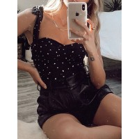 Black Strapless Top For Women Square Neck Lace Up Ruffles Polyester Sexy Summer Tops lifestyle #112420946272