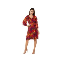 Womens Calvin Klein Printed Dress with Ruffle Sleeves Aubergine/Red DKDOW491