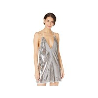 Women's Free People Double Take Sequin Mini Dress Silver Shimmers Combo YPYRA543