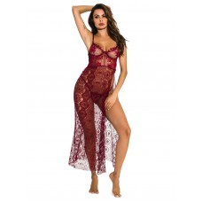 Babydolls For Woman Burgundy Floral Print High-slit Lace Sexy Lingerie Collection #03640957004