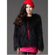 Black Winter Coat Faux Fur Round Collar Women's Fluffy Coat And Jacket shopping #97910672553