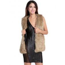 Earth Yellow Vest Faux Fur Polyester Vest for Women on clearance #20940587199