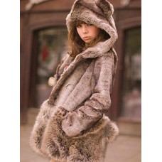 Faux Fur Coat Grey Hooded Long Sleeve Casual Winter Coat With Pom Poms & Pockets Number 1 Selling #97910638883