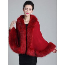 Red Poncho Knitwear Women Oversized Sweater Faux Fur Coat Shawl Collar Sweaters on clearance #12980544269