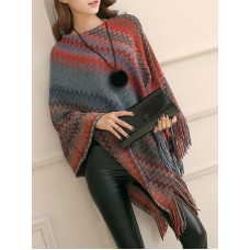 Women Poncho Jewel Neck Oragnge Red Poncho Layered Fringe Color Block Cape The Best Brand #97830918462