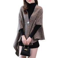 Women Poncho Plaid Pattern Grey Half Sleeves Oversized Buttons Cape shopping #97830969528