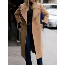 Camel Coat Double Breasted Long Sleeve Winter Coats For Women Shop #12980897284
