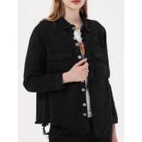 Women Black Jacket Stand Collar Long Sleeves Buttons Polyester Overcoat #12970971990