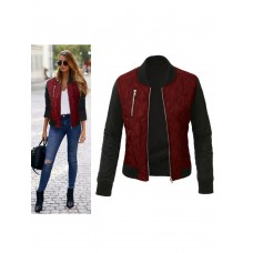 Women Bomber Jacket Burgundy Long Sleeve Stand Collar Padded Jacket Quilted Jackets For Women #12970746814