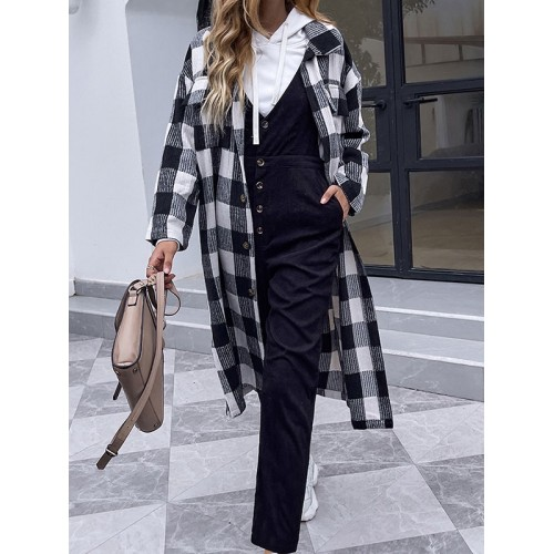 Women Jacket Turndown Collar Long Sleeves Buttons Plaid Pattern Polyester Overcoat Online Wholesale #12970971916