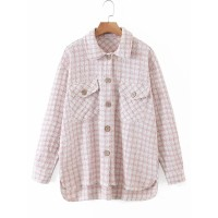 Women Jacket Turndown Collar Long Sleeves Pockets Plaid Pattern Polyester High Low Oversized Pink Overcoat cool designs #12970966740