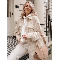 Women Jackets Turndown Collar Plaid Pattern Removable Front Button Casual Pockets Field Apricot Jacket Cost #12970971470