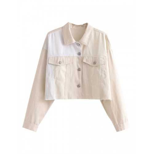 Women Short Jackets Turndown Collar Two Tone Front Button Casual Pockets Light Apricot Jacket hot topic #12970967298